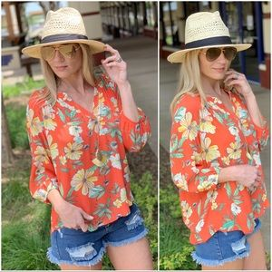 Coral floral 3/4 sleeve tunic